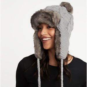 NWT Old Navy Grey and Faux Fur Trapper Hat